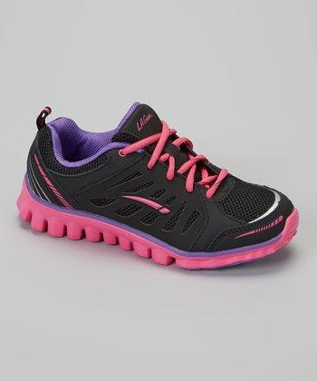 LA Gear Black & Purple Destiny Sneaker