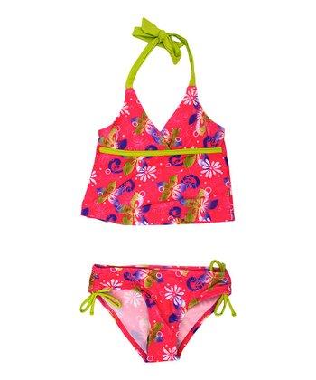 Fuchsia & Green Flower Tankini - Girls