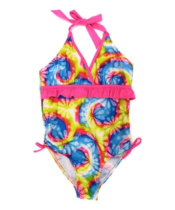 Turquoise & Pink Swirl One-Piece - Girls