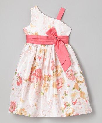 Jayne Copeland White & Pink Floral Asymmetrical Dress - Girls