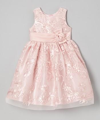 Jayne Copeland Peach Soutache Tulle Dress - Girls