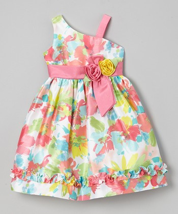 Jayne Copeland Pink Neon Floral Ruffle Asymmetrical Dress - Toddler & Girls
