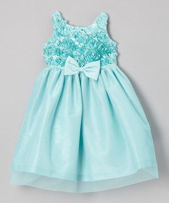 Jayne Copeland Seafoam Soutache Top Tulle Dress - Girls