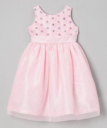 Jayne Copeland Pink Soutache Tulle Floral Dress - Toddler & Girls