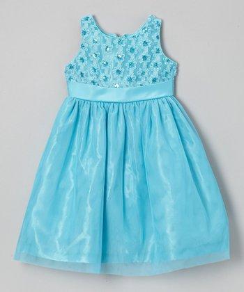 Jayne Copeland Blue Soutache Tulle Floral Dress - Toddler & Girls
