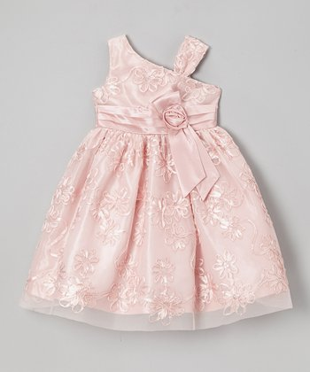 Jayne Copeland Peach Soutache Floral Asymmetrical Dress - Girls