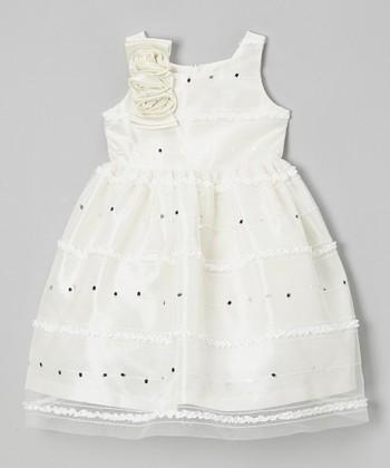 Jayne Copeland Ivory Ruffle Corsage Dress - Girls