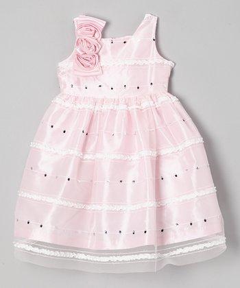 Jayne Copeland Pink Ruffle Corsage Dress - Girls