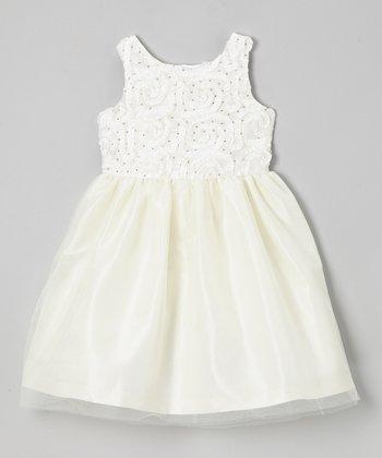 Jayne Copeland Ivory Soutache Tulle Dress - Girls