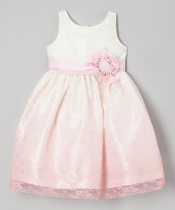 Jayne Copeland Pink Ombre Lace Duo Rose Dress - Girls