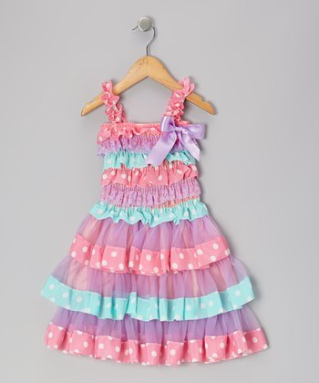 Pink & Lavender Polka Dot Ruffle Dress - Infant & Toddler