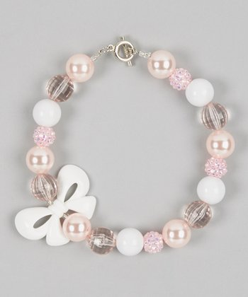Pink & White Bow Bead Necklace