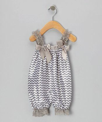 Gray Zigzag Bubble Romper - Infant
