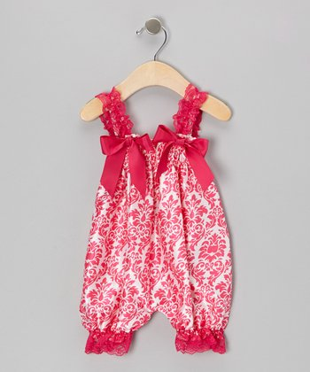 Hot Pink Damask Bubble Romper - Infant & Toddler