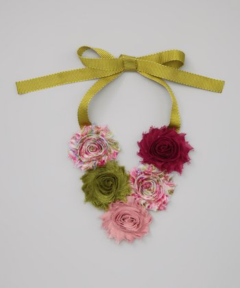 Olive Shabby Rose Necklace