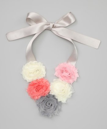 Gray Shabby Rose Necklace