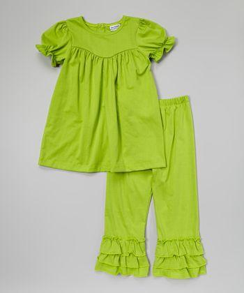 Green Puff-Sleeve Top & Ruffle Pants - Infant, Toddler & Girls