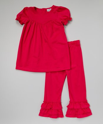 Hot Pink Puff-Sleeve Top & Ruffle Pants - Infant, Toddler & Girls