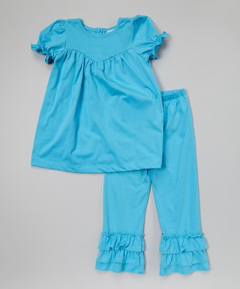 Turquoise Puff-Sleeve Top & Pants - Infant, Toddler & Girls