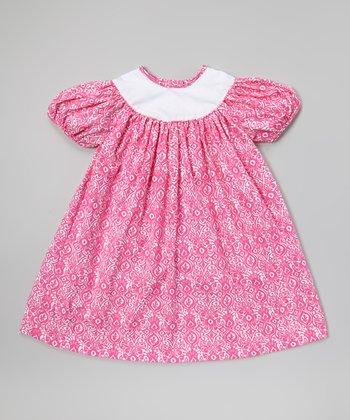 Pink Damask Puff-Sleeve Dress - Infant, Toddler & Girls