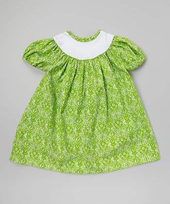 Green Damask Puff-Sleeve Dress - Infant, Toddler & Girls