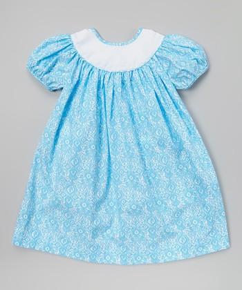 Turquoise Damask Puff-Sleeve Dress - Infant, Toddler & Girls