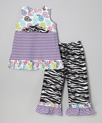 Lavender Stripe Tank & Black Pants - Infant, Toddler & Girls