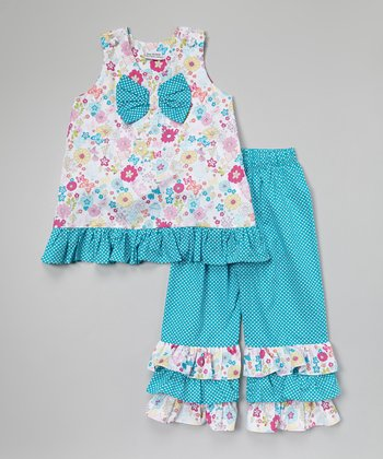 Blue Floral Top & Ruffle Pants - Infant, Toddler & Girls