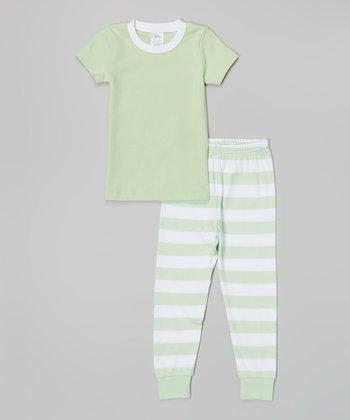 Green & White Stripe Pajama Set - Infant, Toddler & Girls