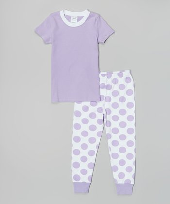 Lavender & White Polka Dot Pajama Set - Infant, Toddler & Girls