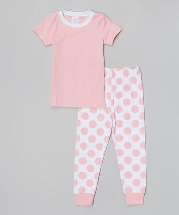 Pink & White Polka Dot Pajama Set - Infant, Toddler & Girls