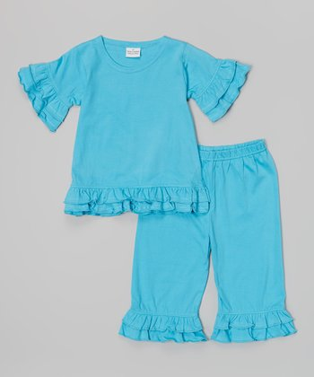 Turquoise Ruffle Knit Top & Capri Pants - Infant & Girls