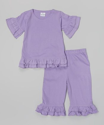 Lavender Ruffle Knit Top & Capri Pants - Infant, Toddler & Girls