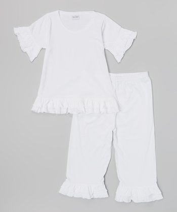 White Ruffle Knit Top & Capri Pants - Girls