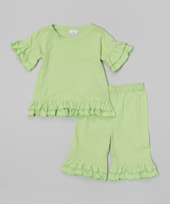 Lime Ruffle Knit Top & Capri Pants - Girls
