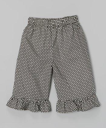 Black Ruffle Daisy Capri Pants - Infant, Toddler & Girls
