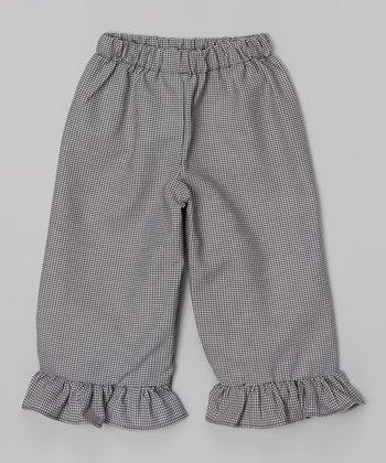 Black Ruffle Houndstooth Capri Pants - Infant, Toddler & Girls