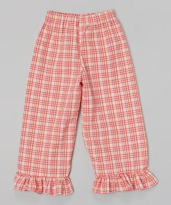 Pink & Orange Ruffle Plaid Capri Pants - Infant, Toddler & Girls