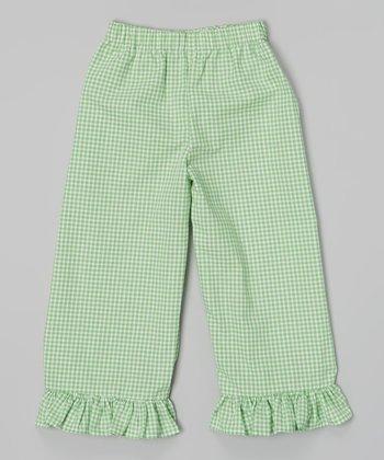 Green Ruffle Gingham Capri Pants - Infant, Toddler & Girls