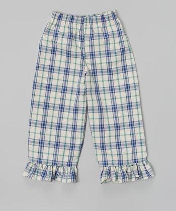Blue Ruffle Plaid Capri Pants - Infant, Toddler & Girls