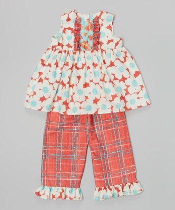 Red Daisy Top & Plaid Capri Pants - Infant, Toddler & Girls