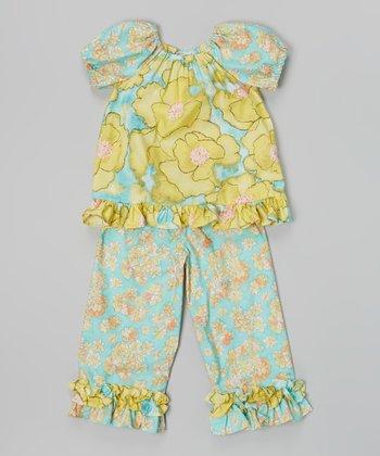 Blue & Yellow Floral Top & Capri Pants - Infant, Toddler & Girls