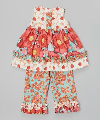 Red Floral Babydoll Top & Capri Pants - Infant, Toddler & Girls