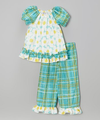 Blue & Yellow Daisy Top & Capri Pants - Infant, Toddler & Girls