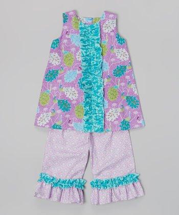 Purple Peacock A-line Top & Capri Pants - Infant, Toddler & Girls