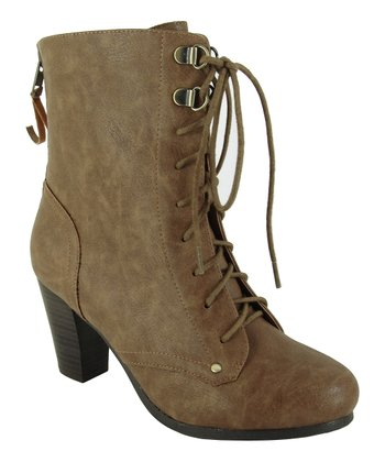 Tan Lace-Up Roskey Bootie