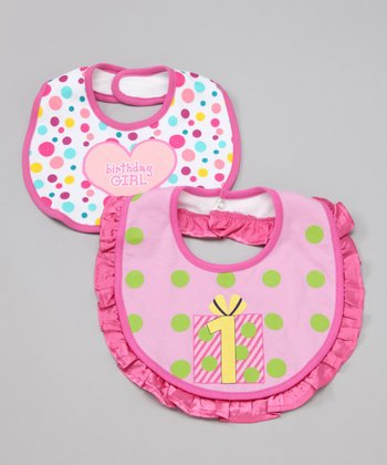 Pink 'Birthday Girl' Bib - Set of Two