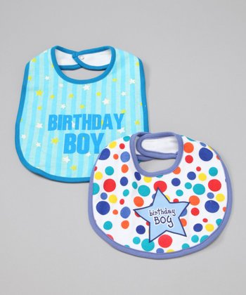 Blue 'Birthday Boy' Bib - Set of Two