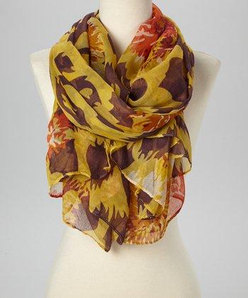 Yellow & Brown Floral Scarf