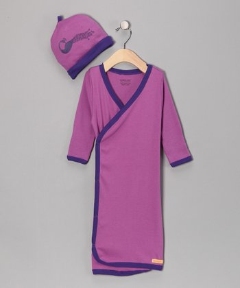 Berry Peacock Organic Wrap Gown & Beanie - Infant